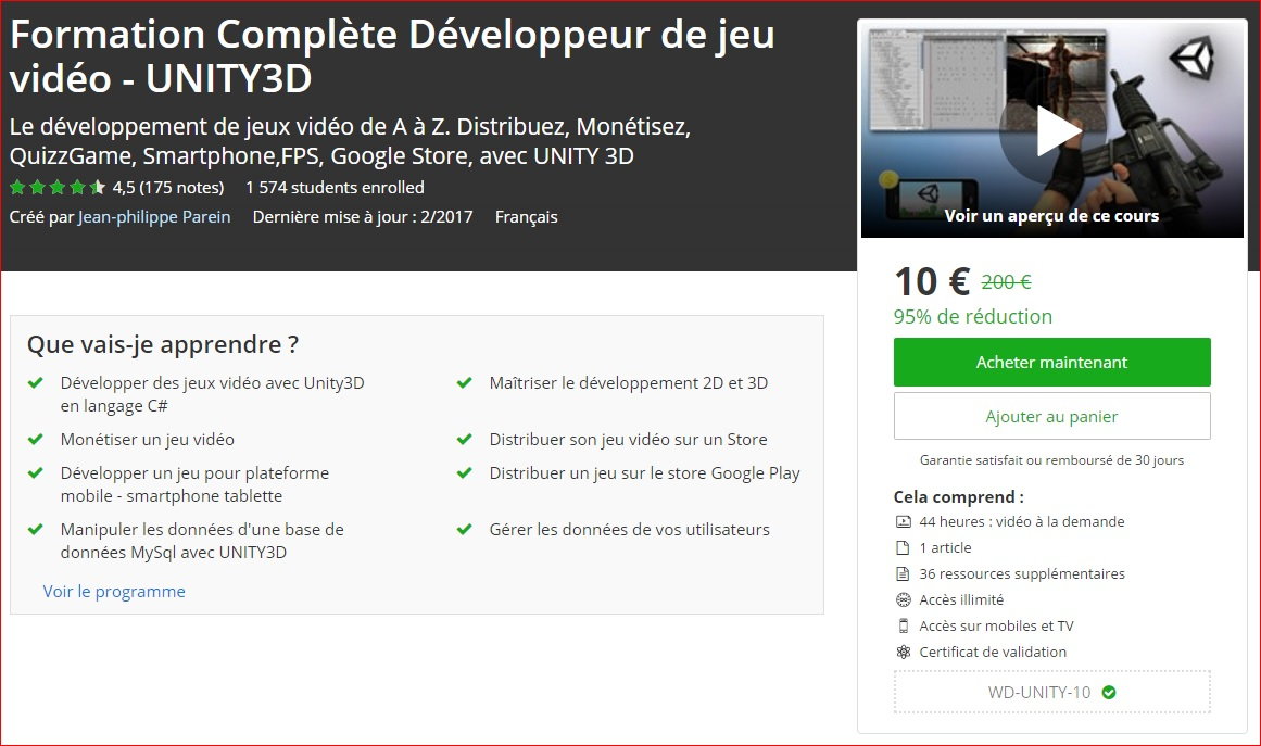 promo unity complet formation